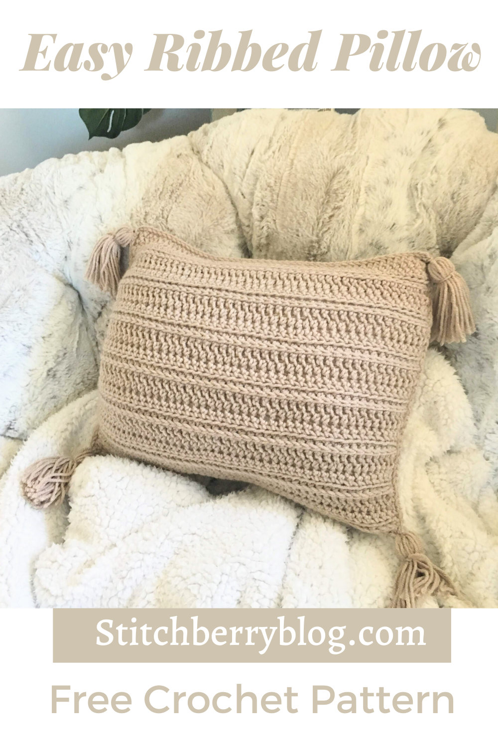 Easy Ribbed Pillow – Free Crochet Pattern