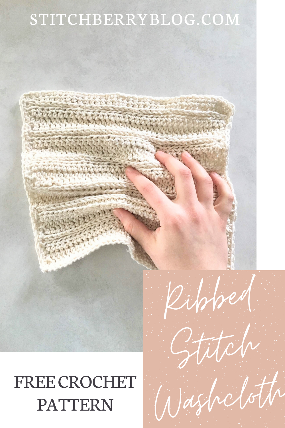 Ribbed Stitch Washcloth – Free Crochet Pattern