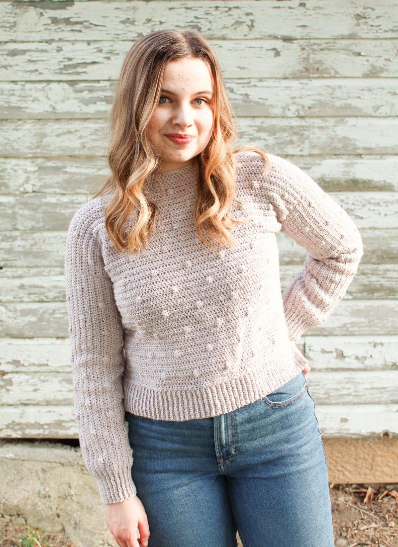 Crochet Bobble Sweater Pattern | The Dottie Sweater
